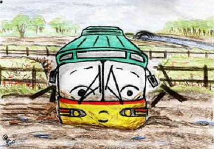 Picture: Geoff stuck in a muddy field