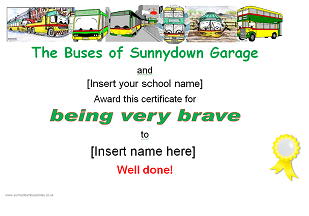 Picture: Being very brave certificate