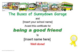 Picture: Being a good friend certificate
